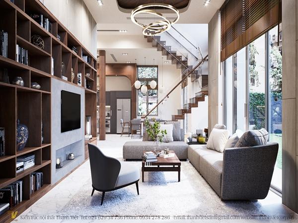 Thiết kế nội thất biệt thự cao cấp phong cách Mid-Century kết hợp hiện đại nhà anh Cường