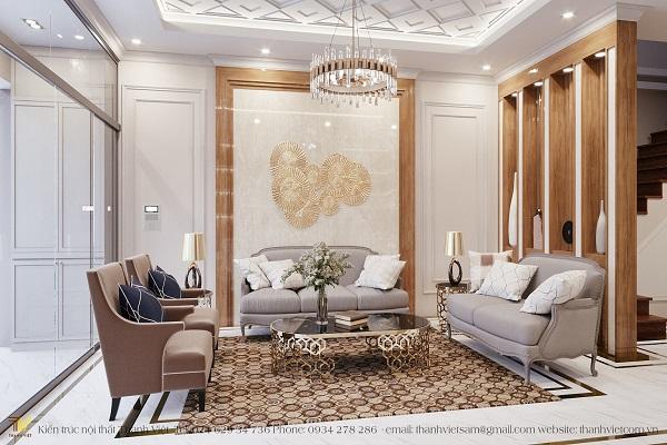 Thiết kế nội thất phong cách tân cổ điển biệt thự liền kề chị Liên