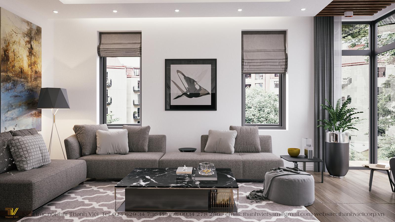 Thiết kế nội thất phong cách hiện đại nhà đất chị La - Hải Dương