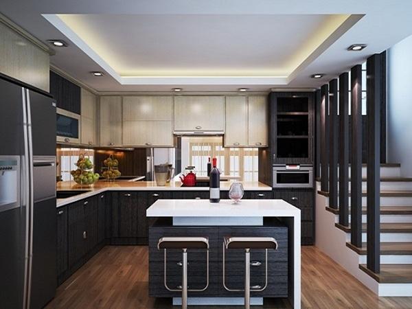 Thiết kế nội thất phòng bếp mở rộng không gian hơn