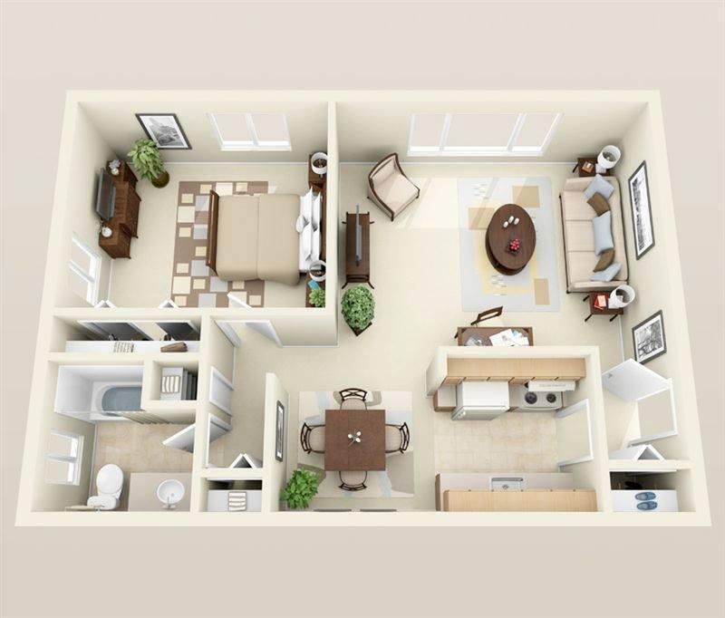 Những mẫu phối cảnh 3D căn hộ có 1 phòng ngủ