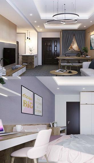 Thiết kế nhẹ nhàng cho căn hộ 3 thế hệ tại Thanh Việt