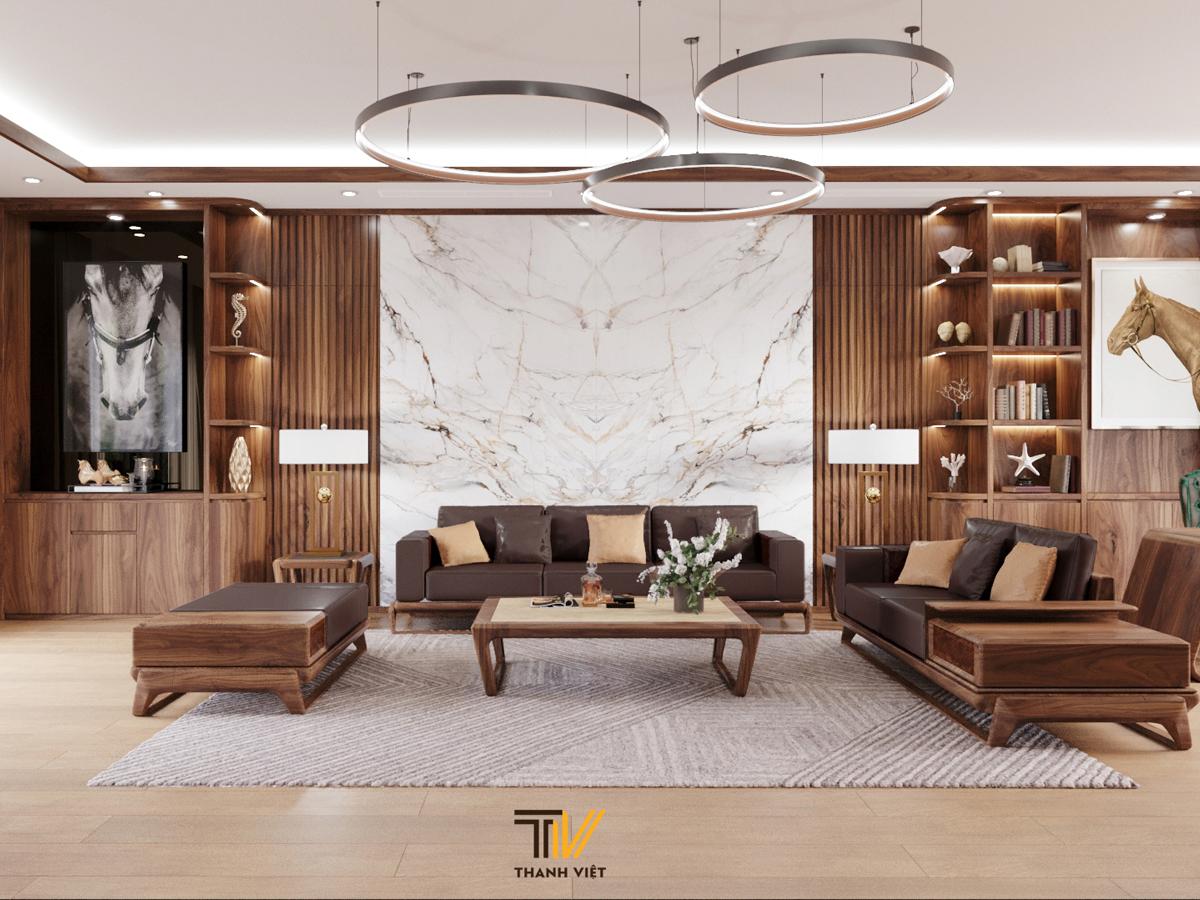 Chất riêng trong thiết kế nội thất biệt thự Hà Nội với gỗ óc chó