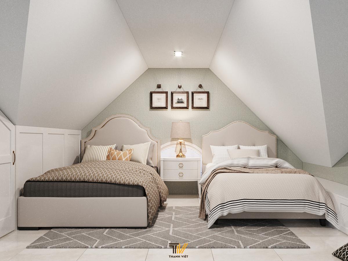 Vỏn vẹn 16m2, KTS Thanh Việt biến phòng gác mái thành phòng ngủ Tân Cổ Điển cực hấp dẫn!